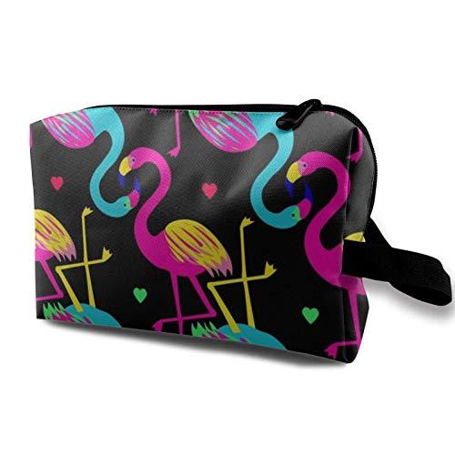 XCNGG Bolsa de cosméticos para mujer Bolsas de tocador suaves Bolso multiusos Bolsa de almacenamiento Flamenco de corazón colorido