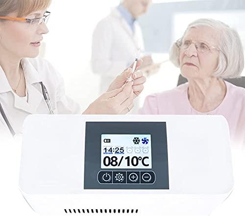 XFYLPA Refrigerador De Insulina para El Hogar, Almacenamiento De Insulina De 3.5W, Voz Doble Y Fría De Doble Control De Voz Transmitida con Un Estuche De Carga, Carga De Fuente Grande