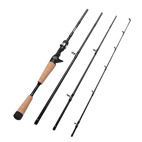 Fiblink 4 Pieces Travel Casting Rod Graphite Baitcasting Fishing Rod Portable Fishing Rod Baitcaster (6'6'' Medium)