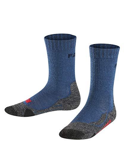 FALKE Kinder TK2 Trekking Socken, wadenlange Wandersocken mit Merinowolle für Mädchen und Jungen, 1 er Pack, Blau (Dark Blue 6680), 35-38 (9-12 Jahre)