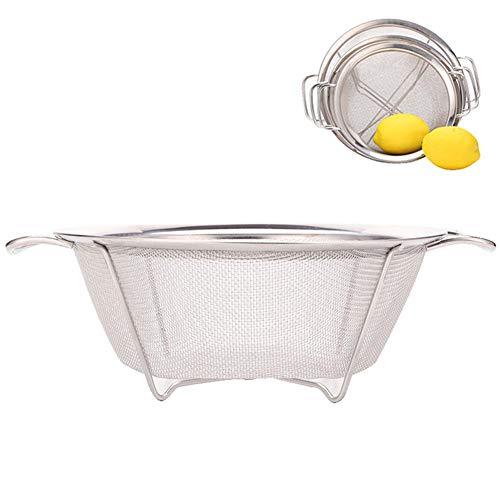 QUUY micro-geperforeerde zeef van roestvrij staal met handgreep, fijnmazig zeef voor het braden van rijst, groenten en fruit.
