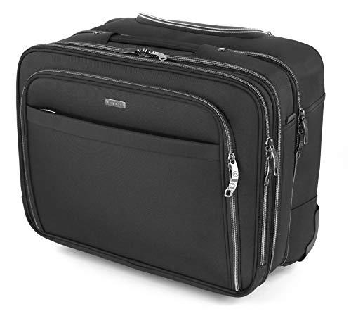 """Bugatti Business Deluxe Laptop Koffer 15"""", Handgepäck Trolley mit Rollen, Mobiles Büro 28L aus Nylon, Kleiner Business Rollkoffer mit Gepäckfach und Organisationsfach, Schwarz"""