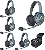 EARTEC UL5D Ultralite 5 Person Full Duplex Wireless Intercom System with 1x Dual-Ear Master Headset, 4X Dual-Ear Remote Headset, 5X Batteries, 8-Bay Charger and Softside Case
