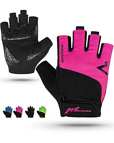 Kemimoto Cycling Gloves, Half-Finger Workout Gloves for Men Women, Gel Padding Bike Gloves, Breathable Motorcycle Anti-Slip Exercise Gloves for Biking, Kayaking, Weightlifting, Motorcycle Riding