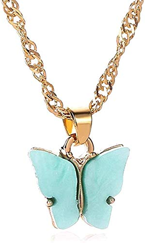 ZPPYMXGZ Co.,ltd Collar Moda Mujer s Colorido acrílico Mariposa Collar de Oro Collar de Cadena de clavícula retorcida Insectos llamativos