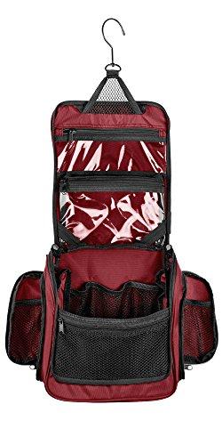 Kulturbeutel zum Aufhängen, mittelgroß, mit abnehmbarer TSA-konformer Reißverschlusstasche und Drehhaken, kastanienbraun), TBM02