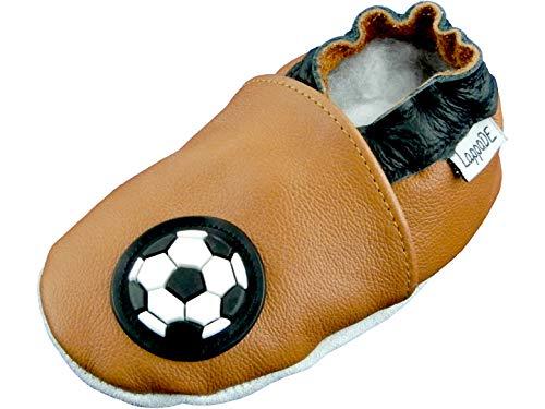 Lappade Fußball braun Jungen Fußballpuschen Lederpuschen Hausschuhe Krabbelschuhe Baby Lauflernschuhe mit Ledersohle (Art. 45 Gr. 26/27 EU)