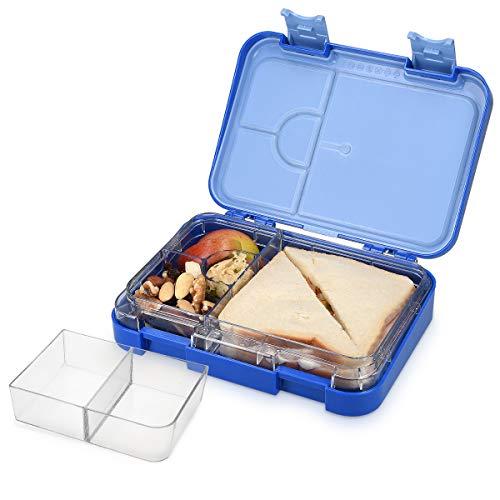 Navaris Bento Box Lunch Box Brotdose Vesperbox - auslaufsicher mit variablen Fächern - herausnehmbare Innenschale - für Jungs und Mädchen - blau