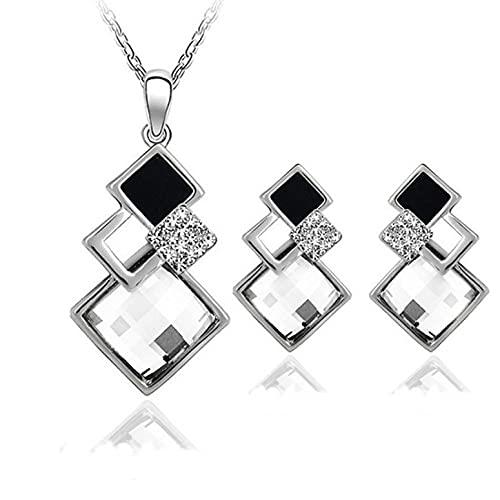 Libarty Colgantes de Cristal, Forma geométrica, Collar, Pendientes, Conjuntos, Collar Cuadrado Grande, Conjunto de Joyas con Tachuelas a Juego para Mujeres