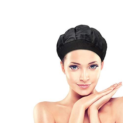 Cap Pelo 1PC Lujo De Calor Térmica Hat para Acondicionamiento Profundo E Hidratante Caliente Y Una Herramienta De Teñido Compresa Fría para Microondas De Pelo (Negro)
