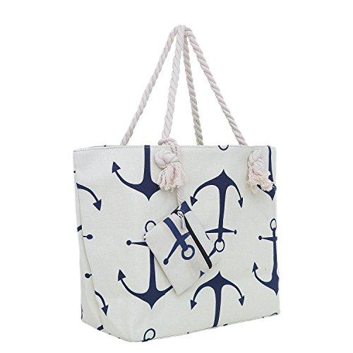 Große Strandtasche mit Reißverschluss 58 x 38 x 18 cm maritimes Design Anker beige blau Shopper Schultertasche Yacht Style