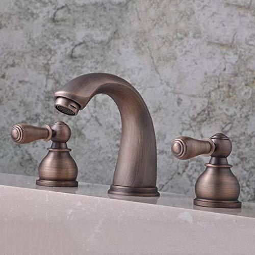 GUONING-L Baño Tap Tres orificios Grifo Nueva retro europeo de bañera de cobre en la pared de baño grifo hermoso práctica Los grifos del fregadero