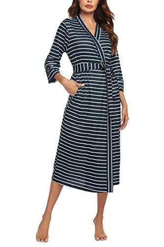 Unibelle - Bata para mujer, de algodón, mangas 3/4, con cuello en V, tallas S-XXL Patrón 8. XL