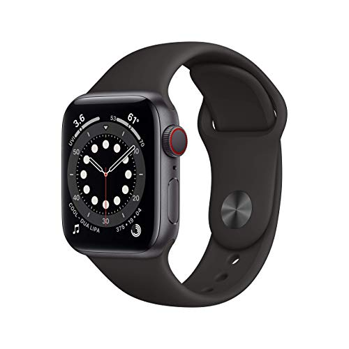 AppleWatch Series 6 (GPS + Cellular, 40mm) - Space Gray Aluminum Case with Black Sport Band (Renewed)