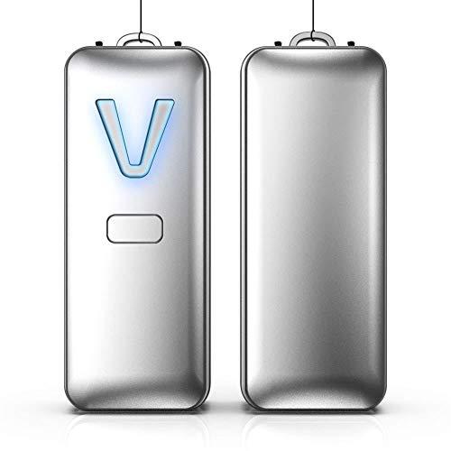 ZZSQ Tragbarer Luftreiniger Halskette 28 Millionen Travel Mini-Ionengenerator Lufterfrischer Für Kinder Und Erwachsene, Beseitigt Rauchgeruch, Gerüche, Staub Polle,Silber