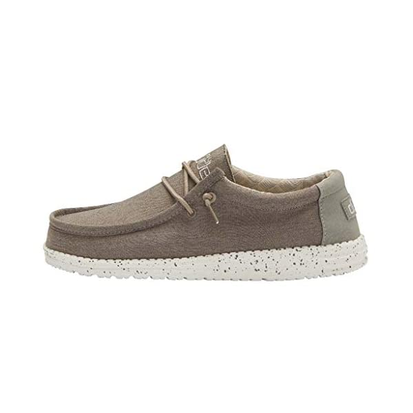 Hey Dude Men's Wally Chambray Sepia Brown Size 9 | Men's Shoes | Men's Lace Up Loafers | Comfortable & Light-Weight