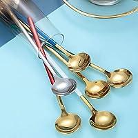 焦げ付き防止パンキッチンツール調理スプーン 長い取り扱いチタンメッキステンレス鋼のコーヒースプーンラウンドヘッドアイスクリームデザートティースプーンピクニックキッチンアクセサリー スープスプーン (Color : Green Golden)