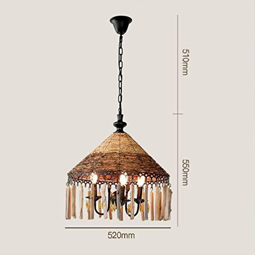 Plafondlamp rotan kandelaar creativiteit thee thema restaurant decoratie vintage kroonluchter hout verlichting lamp lampenkop E14 52 55 cm hangend Chai asdfgdssd 52 × 55 cm
