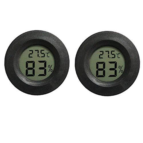 INRIGOROUS Reptilien-Thermometer, 2 Stück, digitales Hygrometer, Thermometer, Messgerät, Terrarium, Hygrometer, Eidechse, Spinne, Schildkröte, Tank, umschaltbar, Celsius Fahrenheit (schwarz)