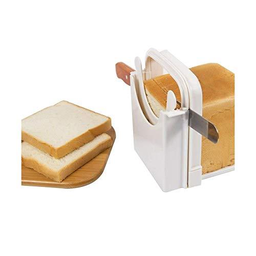 Bread Cutter Slicer -Bread Slicing Guide Adjustable Folding Manual Bread Slicer for Homemade Bread Bagel Loaf Sandwich (White)