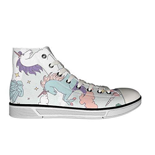 YxueSond Best Wish Rainbow Unicorn - Mocasines de lona para mujer, color Blanco, talla 37 EU