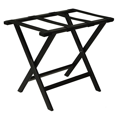 Wooden Mallet Deluxe Straight Leg Luggage Rack,Black Straps, 20' H x 23.75' W x 15.5' D