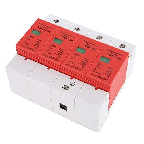 Keenso Überspannungsschutz Haus-Überspannungsschutz-Niederspannungs-Ableitergerät 4P 100kA-Schutz für Blitzschutz für die DIN-Schienen-Nennspannung