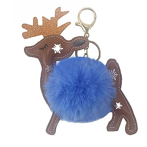 Fablcrew 1 Pcs Porte-Clés Cerf de Noël Boule de Cheveux Pompon Pendentif Femmes Hommes Cadeau Fermoirs Key Bag Ornements Peluche Cadeau de Noel (Bleu)