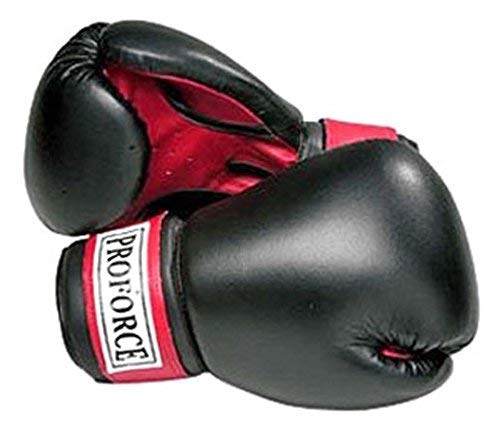 Pro Force Leatherette Boxing Gloves - Black with Red Palm - Black - 18 oz.