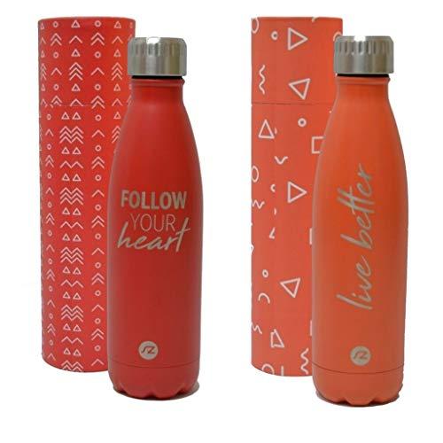 Bottiglia per acqua Sternitz in acciaio inossidabile senza BPA - 24 Ore Freddo & 12 Caldo - 500 ml. (Pack Red - Coral)