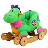 labebe Baby Rocking Horse Wooden, 2 In 1 Plush Rocking Horse with Wheels, Green Dinosaur Rocking Horse for Baby Up 6 Months, Baby Rocker Toy/Baby Rocking Horse/Toddler Rocker/Wooden Rocking Horse Toy