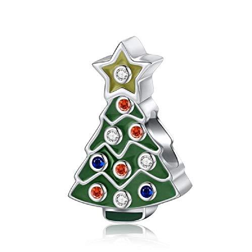 BAIYANG Navidad 925 encantos de Plata esterlina Abalorios de Plata 925 Originalfit Pandora Pulsera EncantoMujeres joyería Fina Regalo
