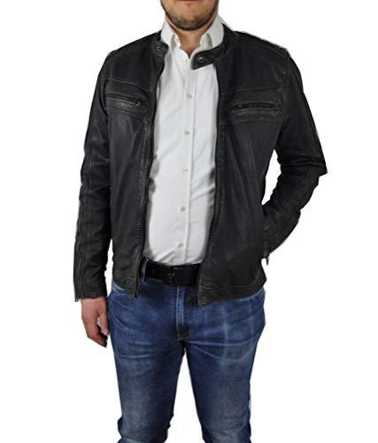 Punchball - Herren Biker Leder Jacke aus 100% Leder in schwarz, (Artikel Burton), Größe:54, Farbe:Black