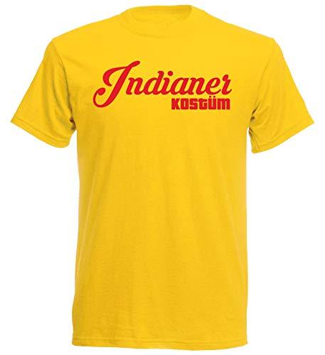 nation Camiseta de carnaval con diseo de carnaval, muchos diseos a elegir, mdico, demonio, marinero, vaquero, indio, piloto hippie Indio, color amarillo. XL