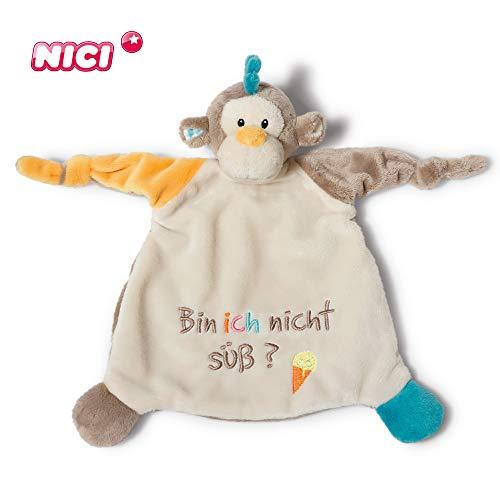 NICI Schmusetuch Affe 'Bin ich nicht süß?´ 25 x 25 cm – Schnuffeltuch ab 0+ Monaten – Kuscheltuch für Babys & Kleinkinder – Baby Kuscheltier / Schnuffeltuch – Schmusetuch für Mädchen & Jungen – 40046
