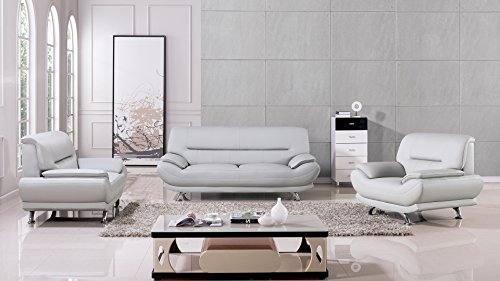 White American Eagle Furniture 2 Piece Dobson Collection Complete Leather Tufted Living Room Sofa Set