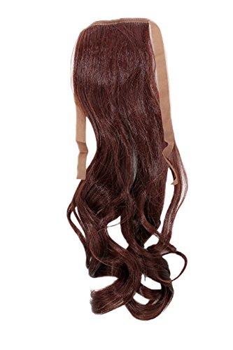 WIG ME UP - YZF-TC18-33 Haarteil ZOPF Kastanien-Braun, Dunkel-Mahagoni wellig 45cm Band Haar Klammer Haarverlängerung