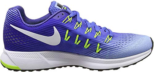 Nike Wmns Air Zoom Pegasus 33, Sneakers Mujer, Azul (Med Blue/White/Aluminum/Deep Night/Volt/Black), 35.5 EU