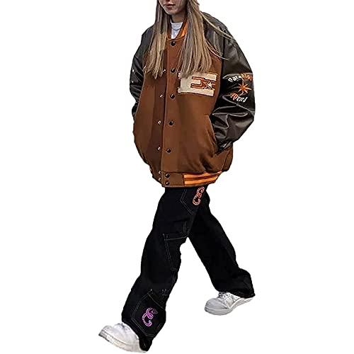 Damska Y2k Oversize Vintage brązowe kurtki rozpinane bluzy płaszcz e-dziewczyna 90s estetyczna modna bluza kamizelki pary strój baseballowy,Black,L
