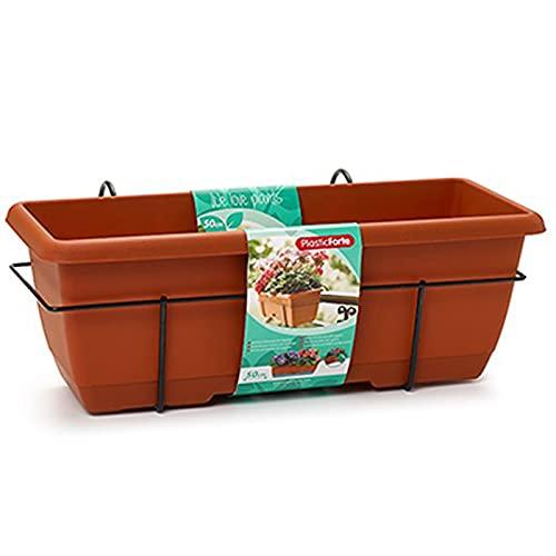 Plastic Forte - Jardinera para balcón con Plato y Soporte de metálico, 50 x 20 x 17,5 cm Macetero de plástico para Colgar, 10L con Plato Integrado para Agua (50 cm Marrón)