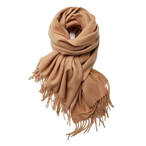 GOHHK Bufandas otoño Bufanda Borla para Mujer Chal clásico Color sólido Bufanda Punto Invierno cálido Elegante Abrigo mantón Suave Cuello Mujer Bufandas Calientes Regalo