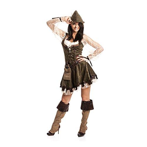Kostümplanet® Robin Hood Kostüm Damen sexy komplettes Faschingskostüm Damen-Kostüm Karneval mittelalterliches Jäger-in Outfit Räuberin große Größe 44/46