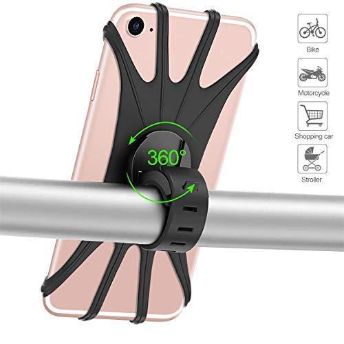 SUNSEATON Fiets Mobiele Telefoonhouder, 360 ° Rotatie Mobiele Telefoonhouder Voor Fiets/Motorfiets/Scooter stuur, Verstelbare Smartphone/GPS Houder Met 4-6 inch Schermen (Zwart)
