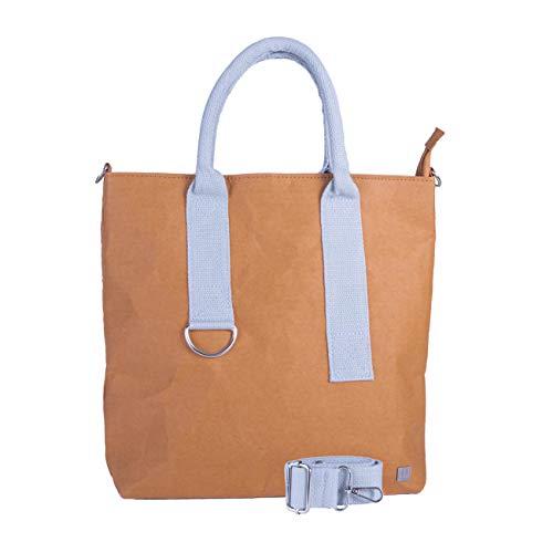 WOLA Damen Umhängetasche Handtasche Papier 32x29cm ORIGAMI grau