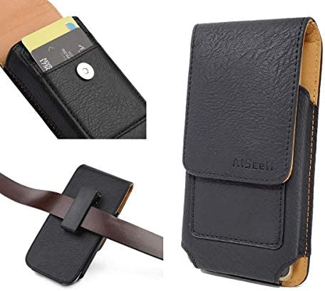 AISCELL Wallet Case Vertical Black Leather Pouch Swivel Clip Holster for Moto Z4 Z3 One Zoom product image