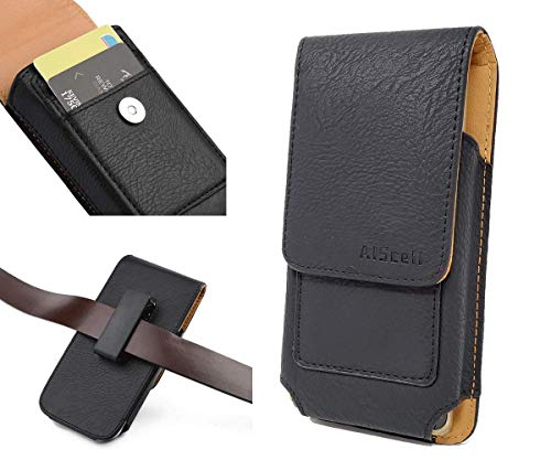 aiscell Tasche für Motorola Moto Z Force Droid/Play Droid ~ Plus Größe Vertikal Schwarz Leder Wallet Case Drehbar Holster (Passt Telefon mit Otterbox/Hybrid-Dual-Layer) 16,8x 9,1x 1,5cm (Ver)