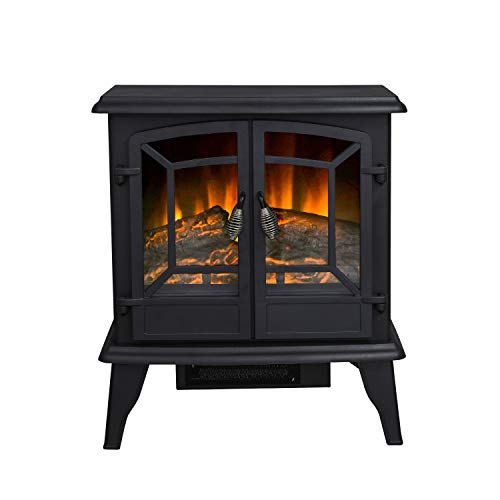 "Top Space 23"" Electric Fireplace Heater Freestanding Space Heater with Realistic Flame Effect Portable Fireplace Stove, CSA Certified, Overheat Protection, Black"