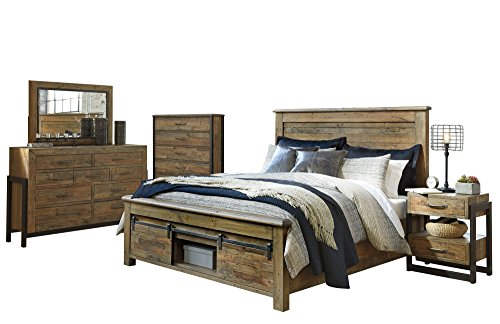 Review Sommerford 5 PC Bedroom Set: Cal King Panel Bed 1 Nightstand Dresser Mirror Chest - Ashley in...
