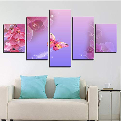 Lllyzz Wohnkultur Leinwanddruck Poster 5 Stücke Rosa Schmetterling Und Motte Orchidee Gemälde Modulare Wandkunst Phalaenopsis Bilder Gerahmt-150X80Cm