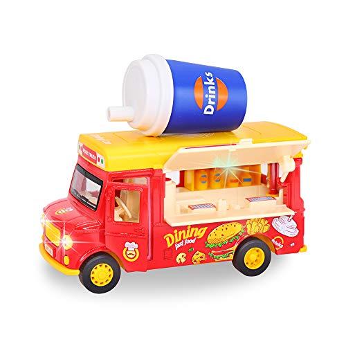 Essens-LKW mit Pull-back-Fahrzeug, Legierung Boutique mit magnetischem Getränk, zur Aktivierung von Musik & Türlicht und beweglicher Markise, LKW, ideales Geschenk für Kinder ab 3 Jahr.